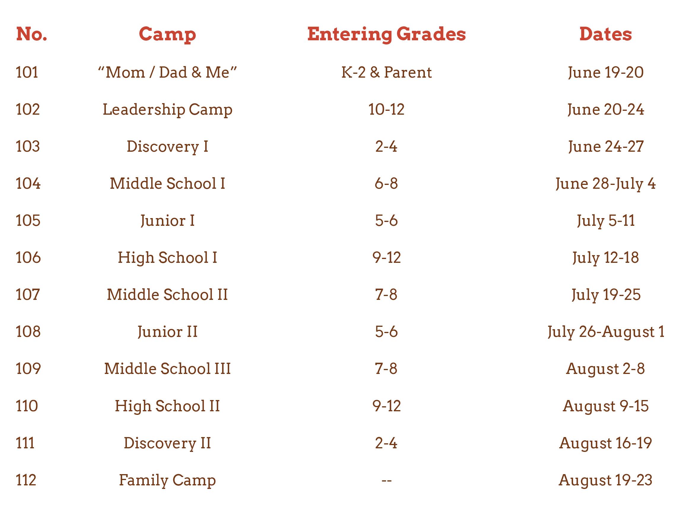 Camp Spalding 2020 schedule