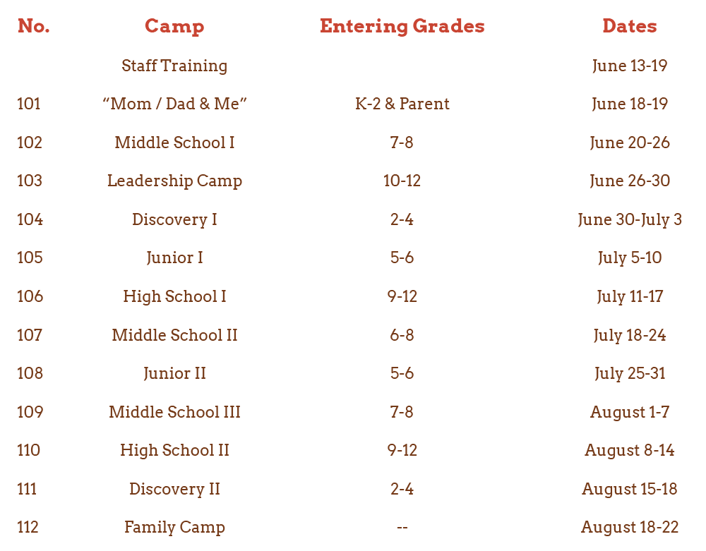 Camp Spalding 2021 Schedule